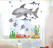 Fishes in the Oceans Wall Decal Home Sticker Paper Removable Living Dinning Room Bedroom Kitchen Art Picture Murals DIY Stick Girls Boys kids Nursery Baby Playroom Decoration