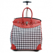Classic Red Houndstooth Foldable Rolling Carry-on 36cm Laptop/ Tablet Tote Bag