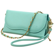 INSTEN Universal Posh PU Leather Zip-around Clutch Wallet with Crossbody Strap and Wristlet for Smartphone
