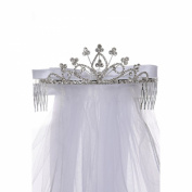 Cinderella Couture Girls Silver White Crystal Clover Bow Ribbon Tiara Wired Veil