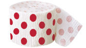 9.1m Crepe Paper Red Polka Dot Party Streamers
