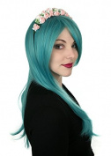 Prettyland C600 - turquoise Green 60cm Straight Volume Dicht Hair Show Costume Wig