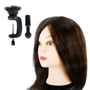 Rayinblue 100% Real Human Hair Rayinblue Hairdressing Training Head Mannequin Doll Head + Free Clamp
