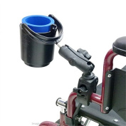 Wheelchair Rail and Tube Mount with Self Levelling Drink Cup Holder