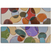 'Coloured cells at play' 2-piece Hand Painted Canvas Art