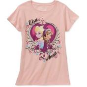 Disney Frozen Anna Elsa Girl Short Sleeve Coral T Shirt Tee