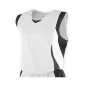 Girl's Wicking Mesh Advantage Jersey - 516 - White/Black/White - M