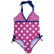 Pink Platinum Girls Pink Polka Dot Halter Swimming Suit Bathing Suit 1 PC Size 4