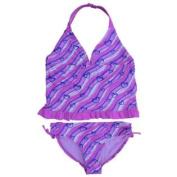 Angel Beach Girls Pink Stripes & Hearts Tankini Swimming Suit Swim 2 PC Size 14