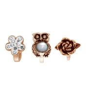 Link Up Rose Gold Plated Silver Crystal Owl Charm Set of 3
