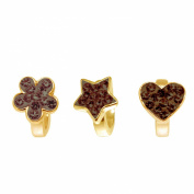 Link Up Gold Plated Silver Crystal Brown Flower Star Heart Charm Set of 3