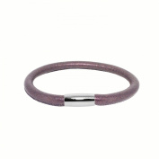 Link Up Stainless Steel Magnetic Clasp 1 Row Purple Leather Cord