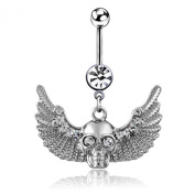 Bluelans® Silver Skull Crystal Angle Wings Belly Ring Button Navel Barbell Body Piercing Jewellery for Women Ladies Girls