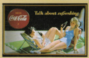 FRENCH VINTAGE METAL SIGN 30X20 CM RETRO AD DRINK COCA-COLA PIN UP DRINK COCA-COLA TALK ABOUT REFRESHING