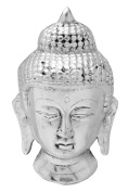 The Hue Cottage Gautam Budhha Showpiece White Metal Handcrafted Figurine Feng Shui Statue Indian Wall Hanging Religious Gift Decor