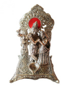 The Hue Cottage Lord Krishna Radha Statue Indian Hindu Religious Figurine White Metal Handcrafted Silver Showpiece Interior Decor