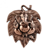 The Hue Cottage Ganesha on Leaf Statue Handcrafted Copper Showpiece Decorative Hindu Religious Ganpati Figurine Lucky Wall Hanging