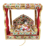 The Hue Cottage Decorative Baby Krishna Jhula Statue Handcrafted Wooden Showpiece Indian Hindu Religious Multicolor Figurine Interior Gift Items