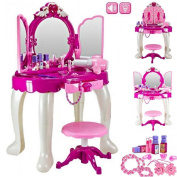 Girls Glamour Mirror Makeup Dressing Table Stool Playset Toy Vanity Light & Music Great ~Birthday Christmas XMAS Gift New