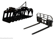 180cm Root Grapple Bucket and 48 HD Pallet Forks PACKAGE Skid Steer Loader Tractor
