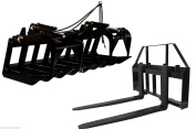150cm Root Grapple Bucket and 42 HD Pallet Forks PACKAGE Skid Steer Loader Tractor