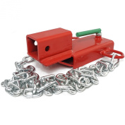 Clamp On Forklift Hitch Receiver w/chain Pallet Fork Trailer Towing Adapter 5.1cm