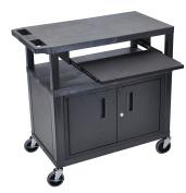 Luxor 3 Flat Shelves W/ Cabinet & Pullout Shelf Black Presentation Station