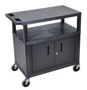 Luxor 3 Flat Shelves W/ Cabinet Black Presentation Station