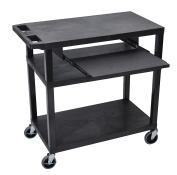 Luxor 3 Flat Shelves W/ Pullout Shelf Black Presentation Station