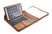 XIAOZHI Brown iPad Air 2 / iPad Air Zippered Leather Padfolio With Bluetooth Keyboard and iPad Air 2 / iPad Air holder
