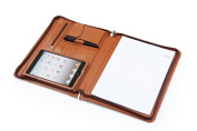 Ipad mini 1-3 and A4 Letter-Size Paper Brown Deluxe Leather Padfolio