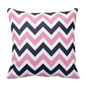 Pink and Navy Chevron Cushion Covers 46cm x 46cm