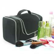 Lavievert Toiletry Bag / Makeup Organiser / Cosmetic Bag / Portable Travel Kit Organiser / Household Storage Pack / Bathroom Storage with Hanging for Business, Vacation, Household -Black
