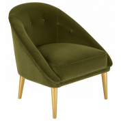 Safavieh Couture Collection Hopkins Pine Dark Olive Green Velvet Club Chair