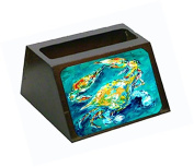 By Chance Crab in Aqua blue Decorative Desktop Professional Wooden Business Card Holder MW1162BCH
