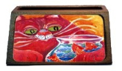 Big Red Cat at the fishbowl Decorative Desktop Wooden Business Card Holder