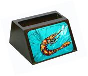 Shrimp Teal Shrimp Decorative Desktop Professional Wooden Business Card Holder MW1100BCH