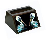 Dressed in Black Pelican Decorative Desktop Professional Wooden Business Card Holder MW1164BCH