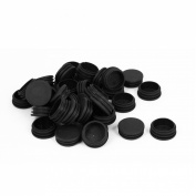 38mm Dia Plastic Blanking End Caps Cover Round Tube Inserts Black 50pcs