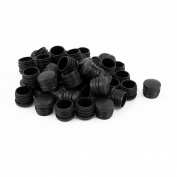 25mm Dia Plastic Round Tube Insert End Blanking Cover Cap Black 50pcs