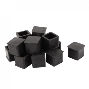 Rubber Furniture Leg Chair Feet Protection Pad 20mmx20mm 15Pcs Black