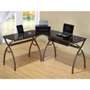 Loft Chic L-shape Tempered Glass Computer Workstation Desk
