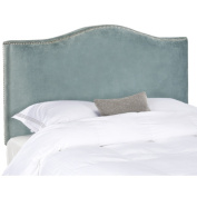 Safavieh Jeneve Nailhead Wedgewood Blue Velvet Winged Headboard