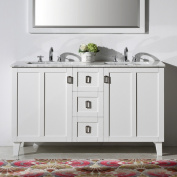 Contemporary Style 150cm Carrara White Marble Top Double Sink Bathroom Vanity in White Finish