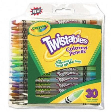. 687409 Twistables Coloured Pencils, 30 Assorted Colours/Pack