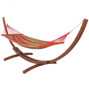 Wooden Curved Arc Hammock Stand With Cotton Hammock Outdoor Garden Patio