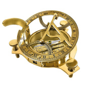 REAL SIMPLE...A HANDTOOLED HANDCRAFTED BRASS SUNDIAL COMPASS W/HARDWOOD BOX!!