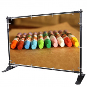 2.4m Telescopic Step and Repeat Banner Backdrop Stand Adjustable Photo Display Wall Exhibitor Trade Show