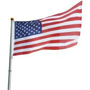 7.6m Telescopic 16 Gauge Aluminium Flag Pole Free 0.9mx1.5m US Flag & Ball Top Kit Telescoping Flagpole Fly 2 Flags