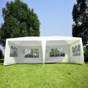 3m x 6.1m Gazebo Canopy Party Tent w/ 4 Removable Window Side Walls - White